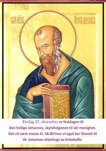 27. desember – Hellige Johannes