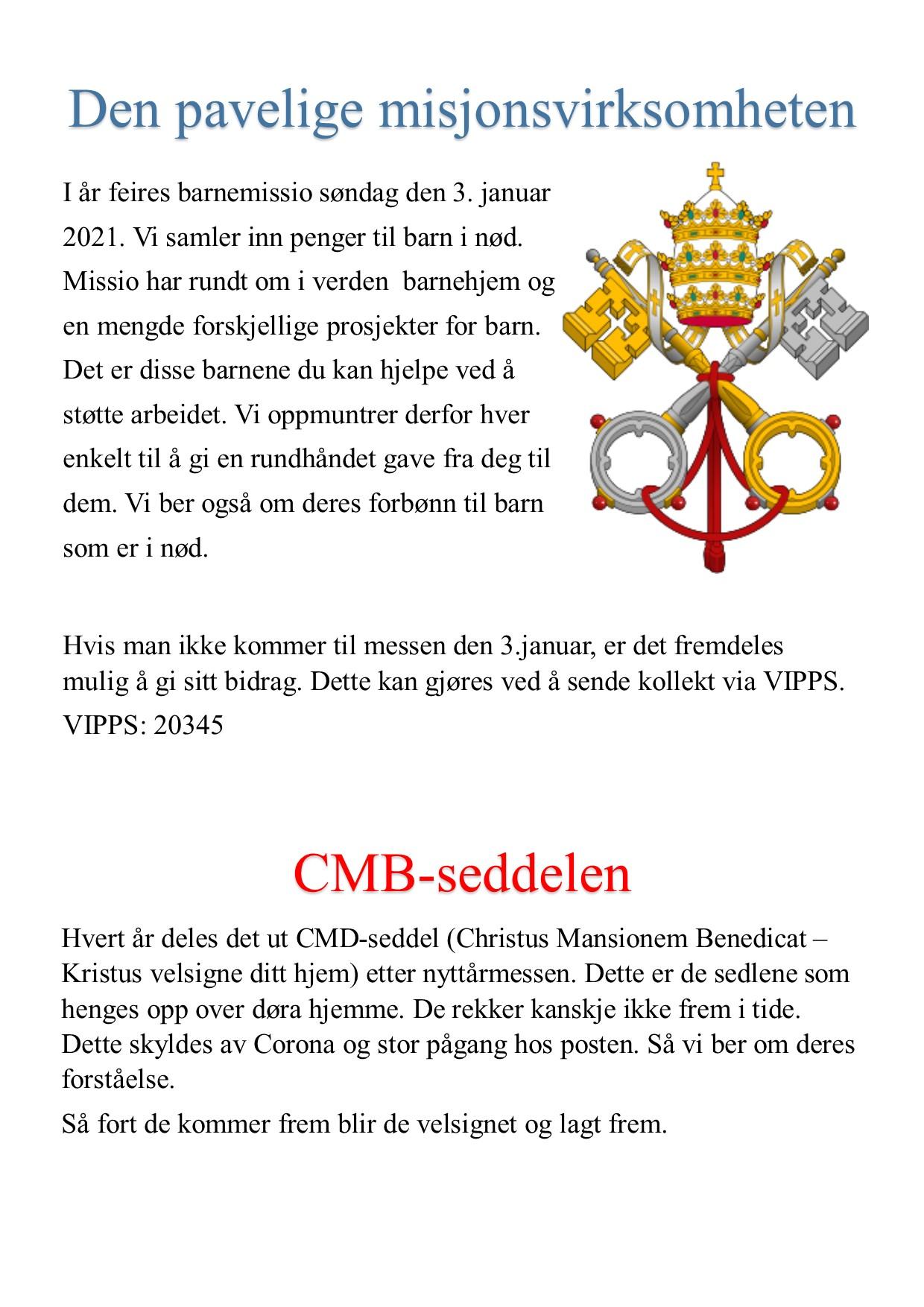 Den pavelige misjonsvirksomheten 3.januar