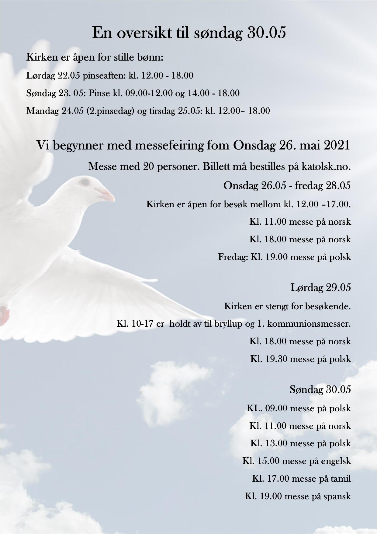 En oversikt over messetider og åpningstider til og med 30. mai